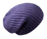 Καπέλο γυναικών ` s Πλεκτό καπέλο που απομονώνεται στο άσπρο υπόβαθρο μπλε καπέλο Στοκ φωτογραφία με δικαίωμα ελεύθερης χρήσης
