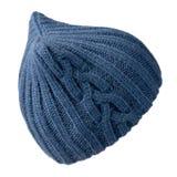 Καπέλο γυναικών ` s Πλεκτό καπέλο που απομονώνεται στο άσπρο υπόβαθρο μπλε καπέλο Στοκ φωτογραφίες με δικαίωμα ελεύθερης χρήσης