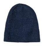 Καπέλο γυναικών ` s Πλεκτό καπέλο που απομονώνεται στο άσπρο υπόβαθρο μπλε καπέλο Στοκ Εικόνες
