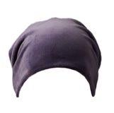 Καπέλο γυναικών ` s Πλεκτό καπέλο που απομονώνεται στο άσπρο υπόβαθρο μπλε καπέλο Στοκ Φωτογραφία