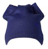 Καπέλο γυναικών ` s Πλεκτό καπέλο που απομονώνεται στο άσπρο υπόβαθρο μπλε καπέλο Στοκ εικόνα με δικαίωμα ελεύθερης χρήσης