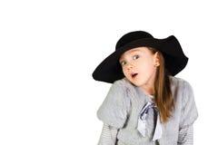 Καπέλο εκμετάλλευσης κοριτσιών και μεγάλα μάτια Στοκ εικόνα με δικαίωμα ελεύθερης χρήσης