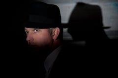 Καπέλο ιδιωτικών αστυνομικών ταινιών noir εγκληματικό Στοκ φωτογραφίες με δικαίωμα ελεύθερης χρήσης