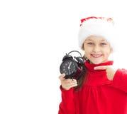 καπέλο κοριτσιών Claus λίγο santa Στοκ Φωτογραφία