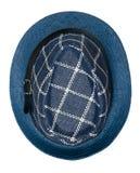 καπέλο με έναν χείλο το καπέλο ανασκόπησης απ&omi μπλε καπέλο Στοκ Εικόνα