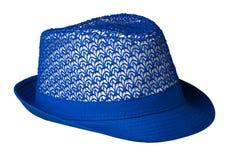 καπέλο με έναν χείλο το καπέλο ανασκόπησης απ&omi μπλε καπέλο Στοκ Εικόνες