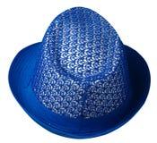 καπέλο με έναν χείλο το καπέλο ανασκόπησης απ&omi μπλε καπέλο Στοκ Φωτογραφία