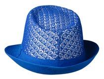 καπέλο με έναν χείλο το καπέλο ανασκόπησης απ&omi μπλε καπέλο j Στοκ φωτογραφία με δικαίωμα ελεύθερης χρήσης