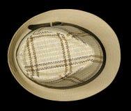 Καπέλο παραλιών που απομονώνεται στο μαύρο υπόβαθρο τοπ άποψη καπέλων παραλιών μπαζούκας Στοκ φωτογραφία με δικαίωμα ελεύθερης χρήσης
