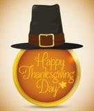 Καπέλο προσκυνητών στο στρογγυλό χρυσό κουμπί με το μήνυμα ημέρας των ευχαριστιών, διανυσματική απεικόνιση Στοκ Φωτογραφίες