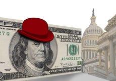 Καπέλο σφαιριστών στον αμερικανικό λογαριασμό δολαρίων Στοκ Φωτογραφία