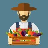 Καπέλο της Farmer, επιλεγμένα λαχανικά Διανυσματική απεικόνιση, εικονίδιο Στοκ φωτογραφίες με δικαίωμα ελεύθερης χρήσης