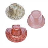 Καπέλο τρία (καπέλα κάουμποϋ, καπέλα δέρματος, άχυρο Στοκ φωτογραφία με δικαίωμα ελεύθερης χρήσης