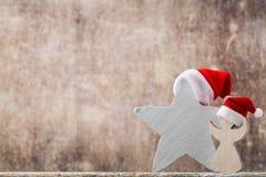 Καπέλο santa αστεριών Χριστουγέννων Πρότυπο Χριστουγέννων Υπόβαθρο Στοκ Εικόνα