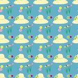 Καπέλων θηλυκό λουλουδιών αφηρημένο σχέδιο σχεδίων υποβάθρου τομέων μπλε Στοκ φωτογραφίες με δικαίωμα ελεύθερης χρήσης