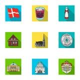 Καπίκι, χρήματα, κορώνα, και άλλο εικονίδιο Ιστού στο επίπεδο ύφος Ιδιότητες, εικονίδια χωρών, Δανία στην καθορισμένη συλλογή Στοκ εικόνα με δικαίωμα ελεύθερης χρήσης