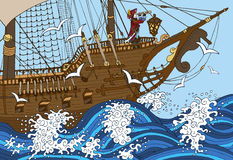Καπετάνιος που προσέχει το μακρύ γυαλί στο κατάστρωμα πλοίων στη θύελλα Στοκ Εικόνες