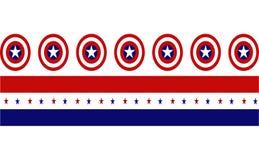 Καπετάνιος America Shield με τις κόκκινες και μπλε λουρίδες με τα αστέρια διανυσματική απεικόνιση