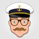 Καπετάνιος Cartoon Face Στοκ Εικόνα