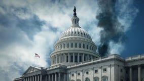 Καπνίζοντας αμερικανικό Capitol κτήριο - πόλεμος, έννοια τρομοκρατίας απόθεμα βίντεο