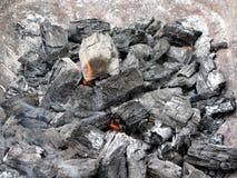 Καπνίζοντας καίγοντας ξυλάνθρακας Στοκ Φωτογραφίες