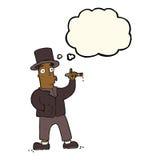καπνίζοντας κύριος κινούμενων σχεδίων με τη σκεπτόμενη φυσαλίδα Στοκ εικόνα με δικαίωμα ελεύθερης χρήσης