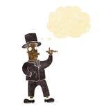καπνίζοντας κύριος κινούμενων σχεδίων με τη σκεπτόμενη φυσαλίδα Στοκ Εικόνες