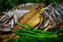 Καπνισμένα και παστά ψάρια ποταμών στη σειρά που εξυπηρετείται με τα λαχανικά Στοκ φωτογραφίες με δικαίωμα ελεύθερης χρήσης