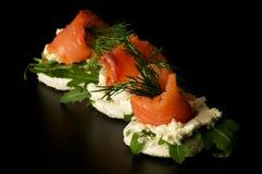 καπνισμένα σολομός πρόχειρα φαγητά Στοκ Φωτογραφίες