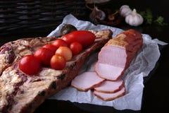 Καπνισμένα τσίλι και σκόρδο ντοματών χοιρινού κρέατος Στοκ Εικόνα