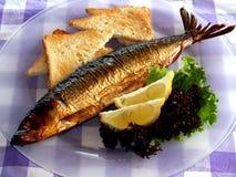 Καπνισμένα ψάρια ένα πιάτο Στοκ εικόνα με δικαίωμα ελεύθερης χρήσης