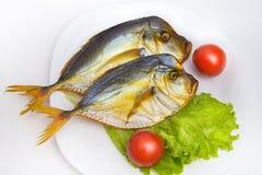 Καπνισμένα ψάρια στο άσπρο πιάτο με τα λαχανικά στο backgroun Στοκ φωτογραφίες με δικαίωμα ελεύθερης χρήσης