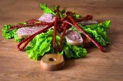 Καπνισμένη μαγειρική προγευμάτων λουκάνικων Στοκ Εικόνα