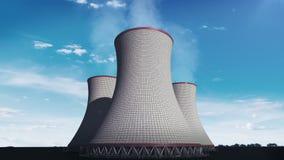Καπνισμένος δροσίζοντας πύργος του πυρηνικού σταθμού, εγκαταστάσεις θερμικής παραγωγής ενέργειας, εικόνα άποψης ουρανού σύννεφων διανυσματική απεικόνιση