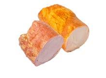 Καπνισμένο μαγειρευμένο ζαμπόν με την οσφυϊκή χώρα χοιρινού κρέατος και ζαμπόν με τις γαλοπούλες Στοκ φωτογραφία με δικαίωμα ελεύθερης χρήσης