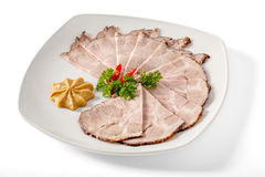 Καπνισμένο χοιρινό κρέας με τα πράσινα στοκ φωτογραφίες