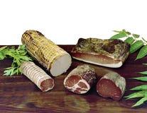 Καπνισμένο speck, bresaola και άλλο είδος γεμισμένου κρέατος Στοκ Εικόνα