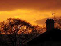 Καπνοδόχος ηλιοβασιλέματος Στοκ Εικόνες