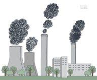 Καπνοδόχος στο άσπρο υπόβαθρο Απεικόνιση της ατμοσφαιρικής ρύπανσης που προκαλείται από το μαύρο καπνό από το σωλήνα εργοστασίων  απεικόνιση αποθεμάτων