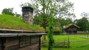 καπνοδόχος του σπιτιού με την πράσινη στέγη χλόης που καπνίζει, Νορβηγία, 4k φιλμ μικρού μήκους