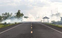 Καπνός από το κάψιμο της ξηράς χλόης στην άκρη του δρόμου Στοκ Εικόνες