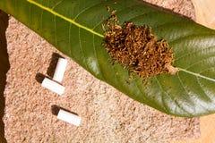 Καπνός για το κάπνισμα στο φύλλο Στοκ Φωτογραφίες