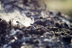 Καπνός και τέφρες της μακροχρόνιας έκθεσης φωτιών μακροεντολή κινηματογραφήσεων σε πρώτο πλάνο στοκ φωτογραφίες