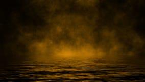 Καπνός με την αντανάκλαση στο νερό Κίτρινο υπόβαθρο επικαλύψεων σύστασης ομίχλης μυστηρίου απεικόνιση αποθεμάτων
