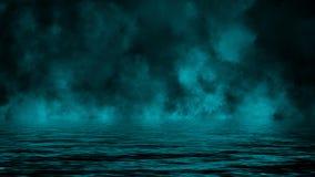 Καπνός με την αντανάκλαση στο νερό Μπλε υπόβαθρο επικαλύψεων σύστασης ομίχλης μυστηρίου απεικόνιση αποθεμάτων