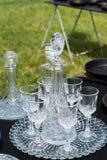 Καράφες και γυαλιά κρασιού Στοκ φωτογραφία με δικαίωμα ελεύθερης χρήσης