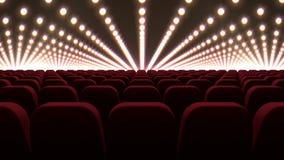 Καρέκλες κινηματογράφων μπροστά από τα κόκκινα φώτα απόθεμα βίντεο