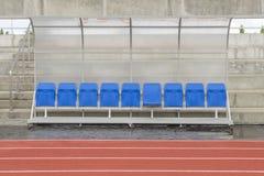 Καρέκλα επιφύλαξης και πάγκος λεωφορείων προσωπικού στο αθλητικό στάδιο Στοκ φωτογραφίες με δικαίωμα ελεύθερης χρήσης