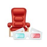 Καρέκλα κινηματογράφων και γυαλιά κινηματογράφων που απομονώνονται Στοκ φωτογραφία με δικαίωμα ελεύθερης χρήσης