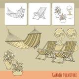 Καρέκλες, αιώρα και λουλούδια σαλονιών στο δοχείο διάνυσμα Στοκ φωτογραφίες με δικαίωμα ελεύθερης χρήσης